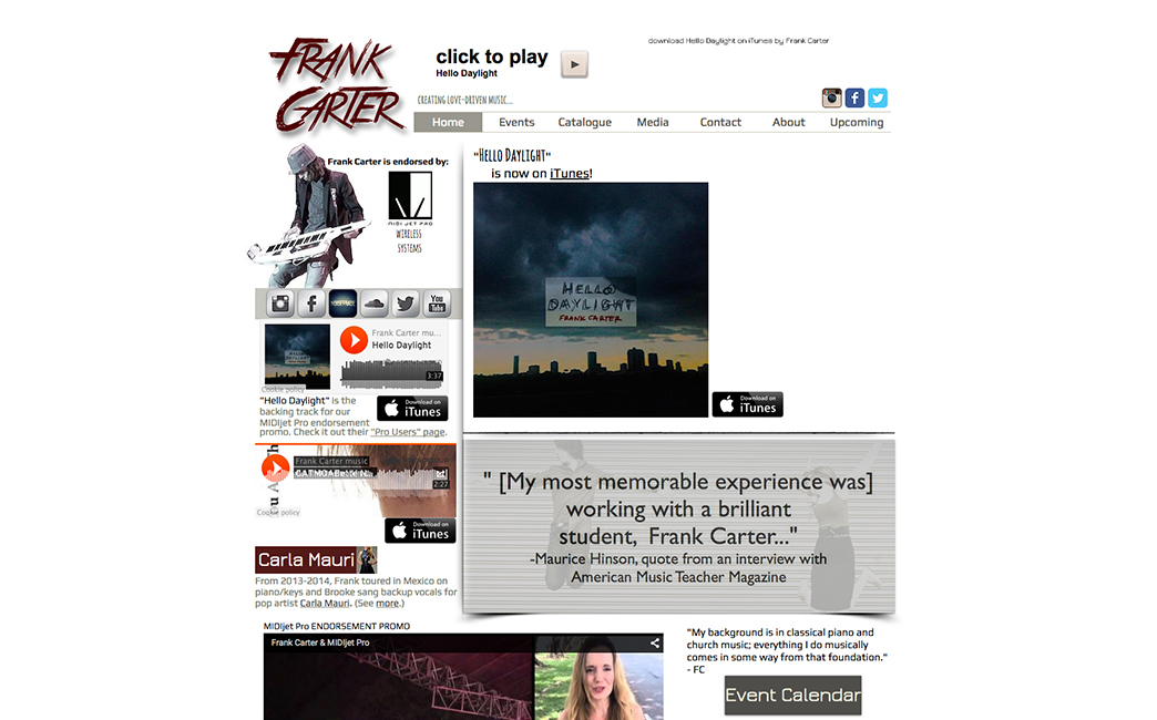 Frank Carter's website - Wix Stories