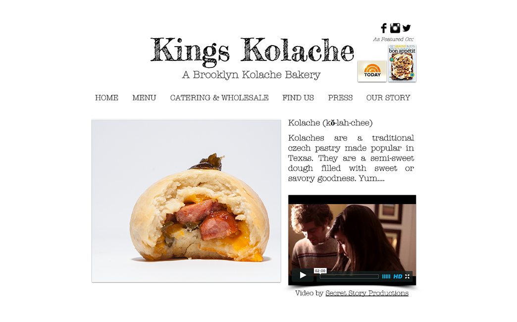 Kings Kolache's website - Wix Stories