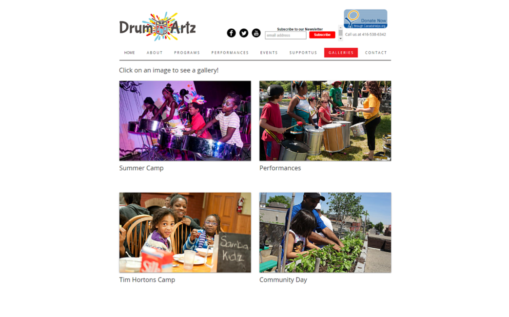 Drum Artz Canada's website - Wix Stories